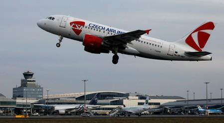 FILE PHOTO: A Czech Airlines Airbus A319 takes off in Prague's Vaclav Havel Airport