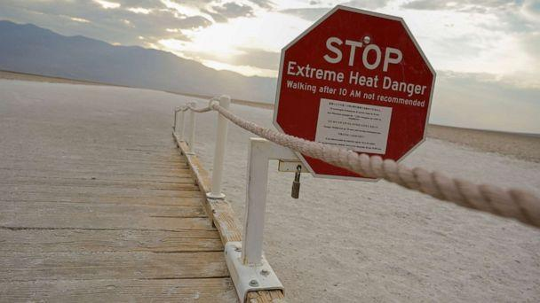 PHOTO: A sign warns of extreme heat in Death Valley, Calif., July 11, 2021. (Bridget Bennet/Reuters, FILE)
