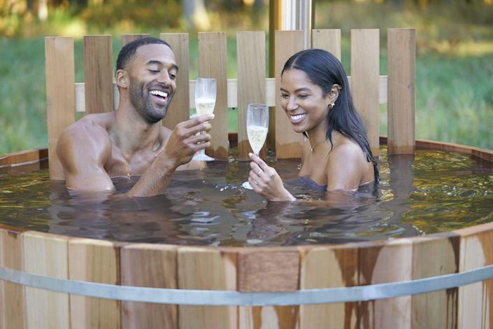 """<p>The cast usually has microphone pacs attached to their outfits at all times, but they have to do things the old fashioned way when it comes to the show's many hot tub moments. """"Typically we will use a boom,"""" Chris told <em><a href=""""https://www.etonline.com/chris-harrison-spills-bts-bachelor-secrets-hidden-cameras-limo-exits-and-fantasy-suites-exclusive"""" rel=""""nofollow noopener"""" target=""""_blank"""" data-ylk=""""slk:ET"""" class=""""link rapid-noclick-resp"""">ET</a></em>. """"'Cause you can't have the microphone underwater.""""</p>"""