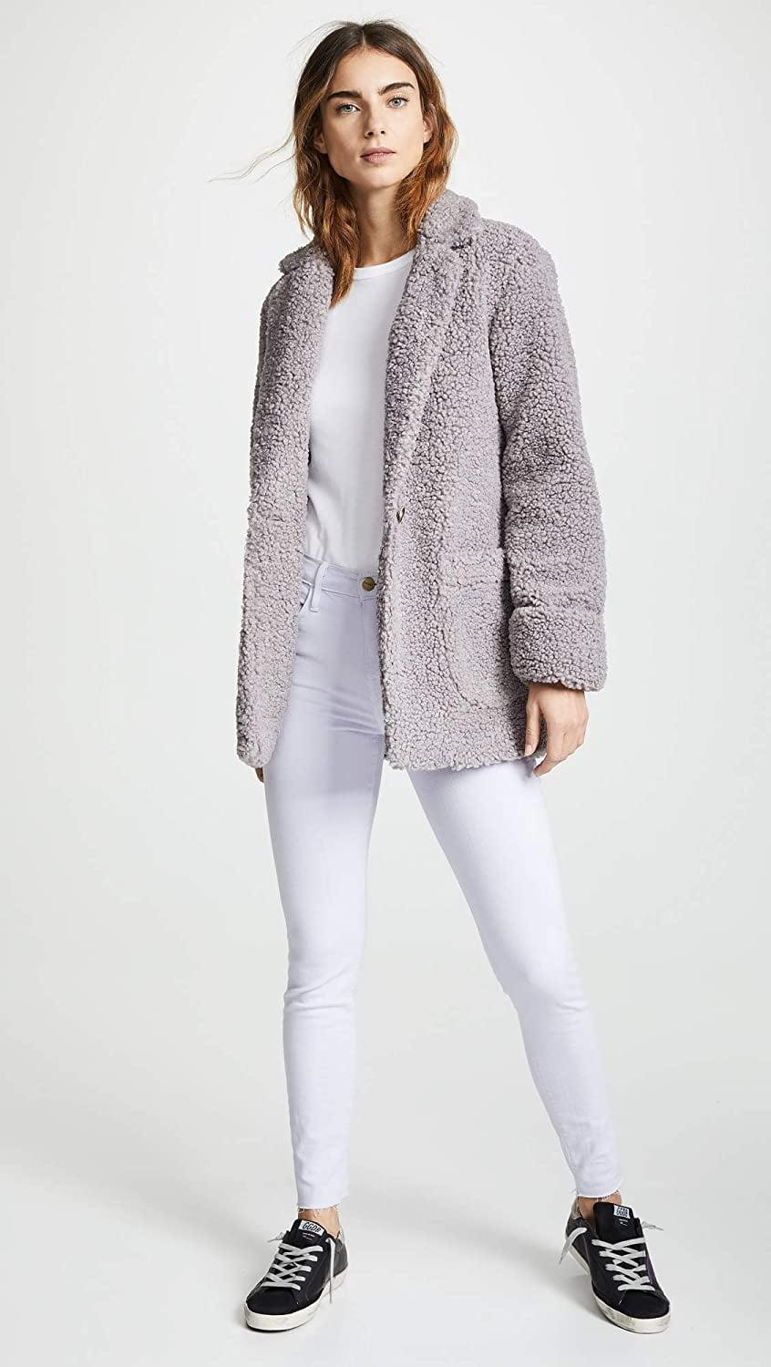 <p>This fuzzy <span>Laveer Jane Coat</span> ($198) also comes in black and pink.</p>
