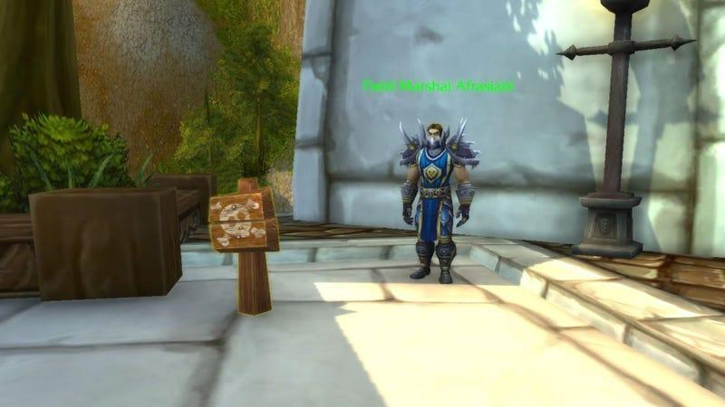 """Image of wooden sign featuring a skull and crossbones with a tooltip that reads """"Go Away"""" placed in front of Field Marshal Afrasiabi NPC in World of Warcraft."""