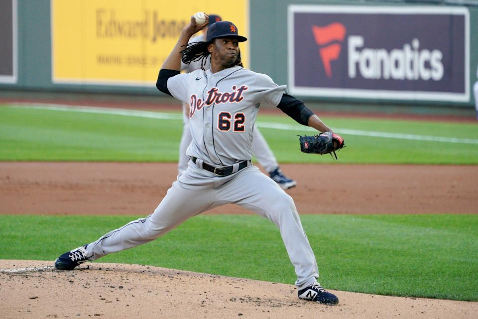 Detroit Tigers starting pitcher Jose Urena (62) delivers a pitch in the first inning against the Kansas City Royals at Kauffman Stadium.