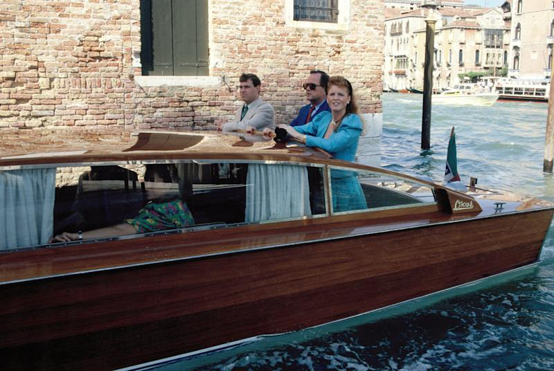 Duke and Duchess of York, Prince Andrew and Sarah Ferguson on a boat during their visit to Venice, Italy in 1989. Photo by Georges De Keerle/Getty Images.