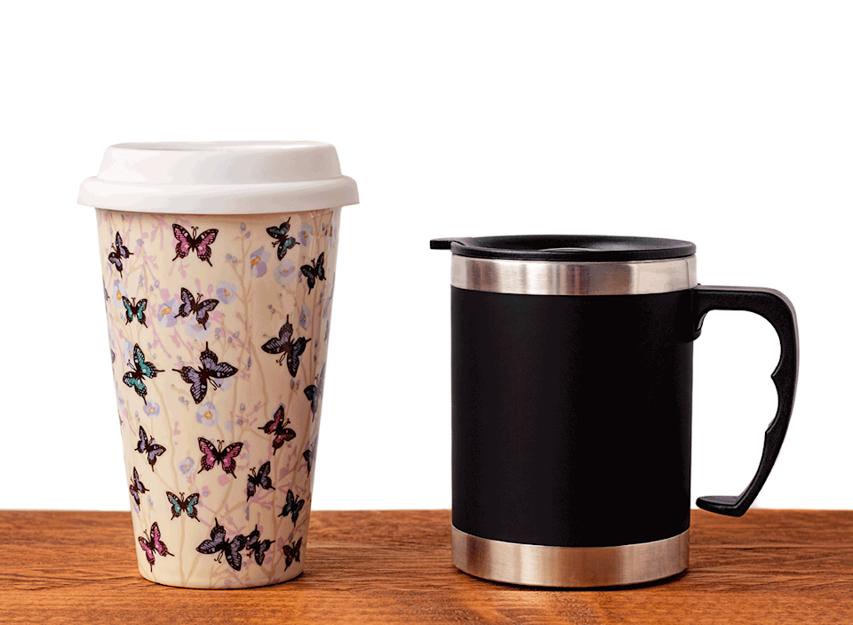 assorted reusable coffee travel cups
