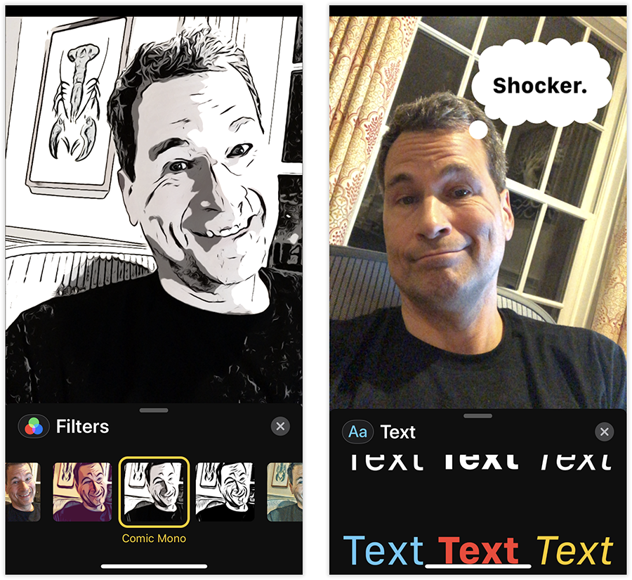 Who hasn't wanted to carry on live video chats as a living, animated cartoon (left), or with text attached (right)?
