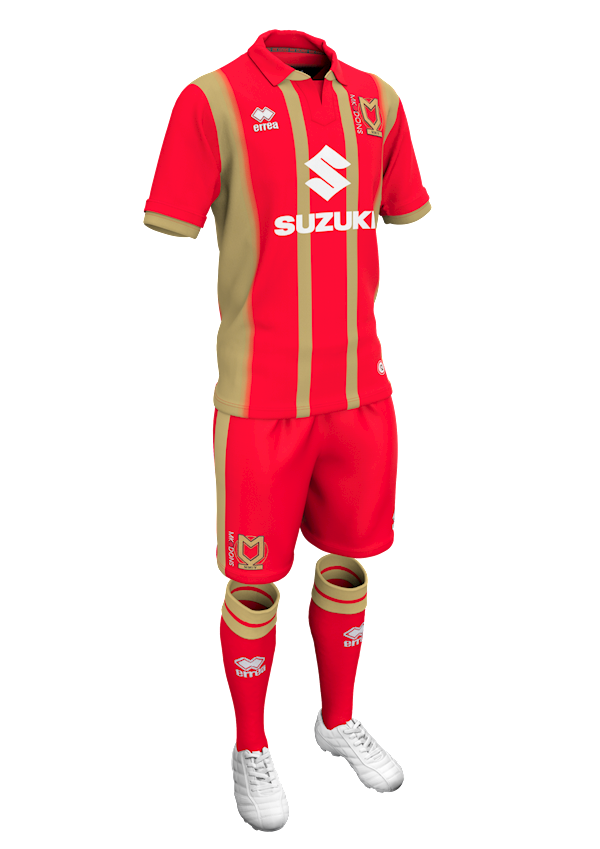 <p>All three of Milton Keynes' kits are questionable this season, none more so than their away one. A red kit with gold stripes is every bit as bad as it sounds. (MK Don's website) </p>