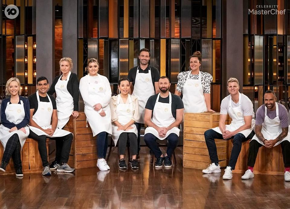 The 10 contestants on Celebrity MasterChef Australia 2021: Soccer player Archie Thompson, 42; TV and radio host Chrissie Swan, 47; fashion designer Collette Dinnigan, 55; Singer Dami Im, 32, Singer; Comedian Dilruk Jayasinha, 36; former Olympian Ian Thorpe, 38; Offspring actor Matt Le Nevez, 42; AFL player Nick Riewoldt, 38; Packed To The Rafters actress Rebecca Gibney, 56 and cooking progeny Tilly Ramsay, 19.