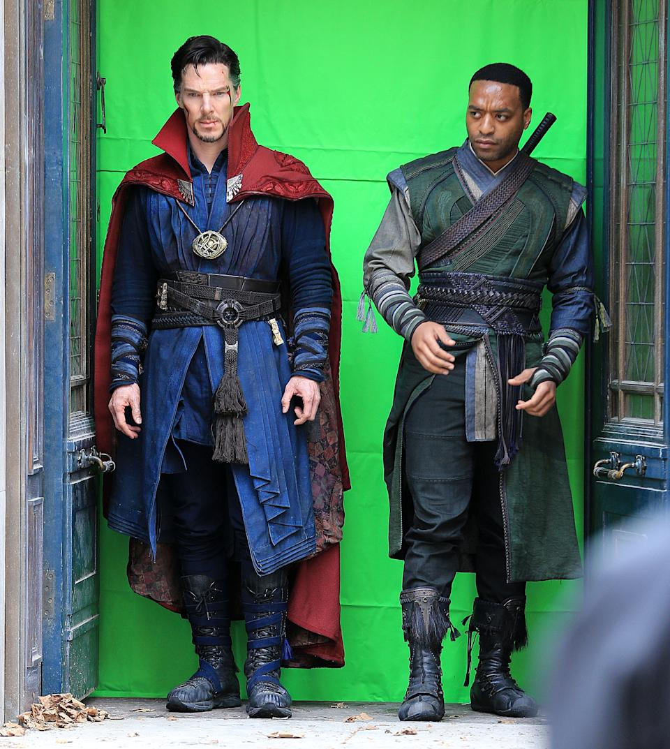 "Photo by: XPX/STAR MAX/IPx 2016 4/2/16 Benedict Cumberbatch and Chiwetel Ejiofor on the set of ""Doctor Strange"" in New York City. (NYC)"