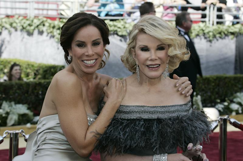 This March 5, 2006 photo shows Joan (R) and Melissa Rivers as they arrive for the 78th Academy Awards presented at the Kodak Theater in Hollywood, California (AFP Photo/Jeff Haynes)