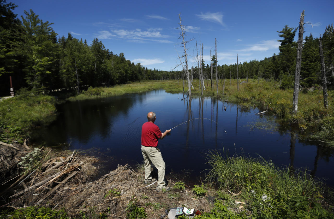 FILE - In this Aug. 7, 2017, file photo, a visitor to the Katahdin Woods and Waters National Monument near Patten, Maine, casts for brook trout in a small pond. Road signs directing motorists to the national monument are going to be installed now that Republican Gov. Paul LePage has relented in his opposition to the signs on I-95 and state roads leading to the Mount Katahdin region. The Maine Department of Transportation will allow signs to be manufactured and installed now that Interior Secretary Ryan Zinke has recommended keeping the monument and a renewed request has been submitted by the superintendent for the federal land, the governor's office said. (AP Photo/Robert F. Bukaty, File)