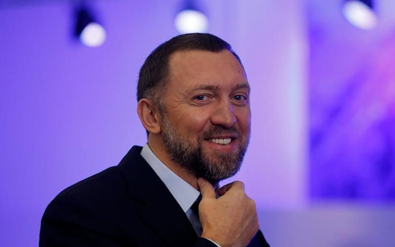 Mr Deripaska during a television interview at hte 2013 World Economic Forum - Bloomberg News