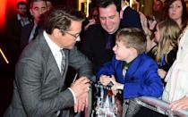 Robert Downey Jr. took time to meet and greet with seven-year-old Ethan Miller, from Southend, Essex, who suffers from the rare blood disease. Credit: PA