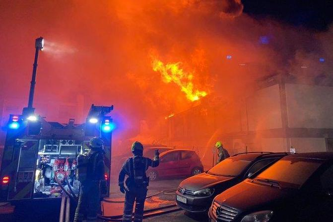 Flames rip through the warehouse in Perivale, north-west London: London Fire Brigade