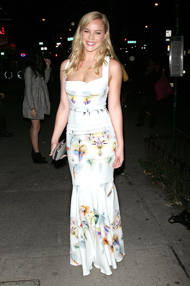 "We don't tend to be fond of floral frocks here at omg!, but we're making an exception this week based on the iris-adorned Roland Mouret dress worn by Abbie Cornish to a recent screening of <a href=""http://movies.yahoo.com/movie/seven-psychopaths/"" target=""_blank"">""Seven Psychopaths.""</a> Yes, the print is a tad summery for this time of year, but the fit is just too darn flattering. (10/10/2012)"