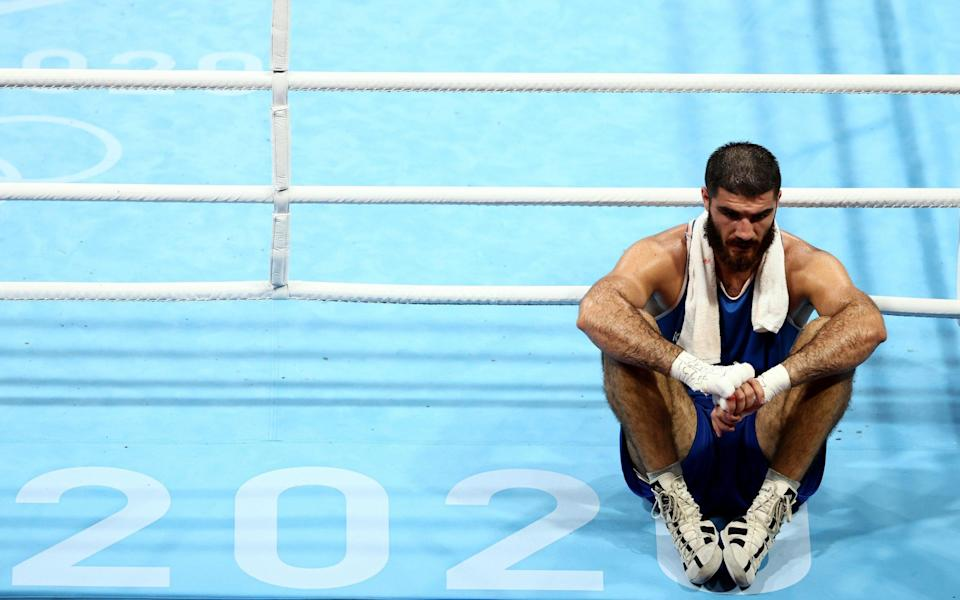 Tokyo 2020 Olympics: French boxer Mourad Aliev stages ringside protest after 'headbutt' disqualification loss against Britain's Frazer Clarke - GETTY IMAGES