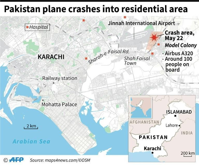 Close-up map of Karachi in Pakistan locating the crash area of a plane carrying around 100 people on Friday