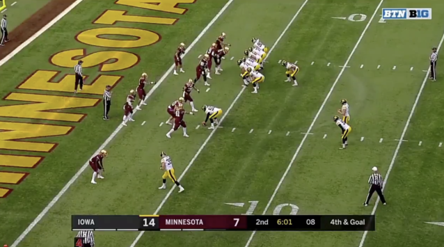Iowa shifted into this formation on fourth and goal vs. Minnesota (via Big Ten Network).