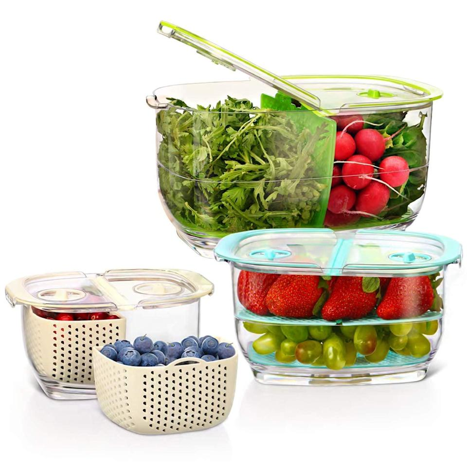"""<p>We love that these <a href=""""https://www.popsugar.com/buy/LUXEAR-Produce-Saver-Veggie-Fruit-Storage-Containers-475862?p_name=LUXEAR%20Produce%20Saver%20Veggie%20Fruit%20Storage%20Containers&retailer=amazon.com&pid=475862&price=41&evar1=yum%3Aus&evar9=46457983&evar98=https%3A%2F%2Fwww.popsugar.com%2Fphoto-gallery%2F46457983%2Fimage%2F46457997%2FLUXEAR-Produce-Saver-Veggie-Fruit-Storage-Containers&list1=shopping%2Cfood%20storage%2Ckitchen%20accessories&prop13=api&pdata=1"""" class=""""link rapid-noclick-resp"""" rel=""""nofollow noopener"""" target=""""_blank"""" data-ylk=""""slk:LUXEAR Produce Saver Veggie Fruit Storage Containers"""">LUXEAR Produce Saver Veggie Fruit Storage Containers</a> ($41) are also easy to take on the go.</p>"""