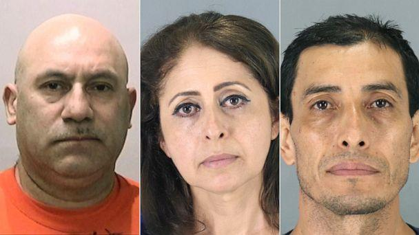 PHOTO: Luisandor Suarez, Haydee Arguello and Wilfredo Amaya in police booking photos. (San Bruno Police Departement)