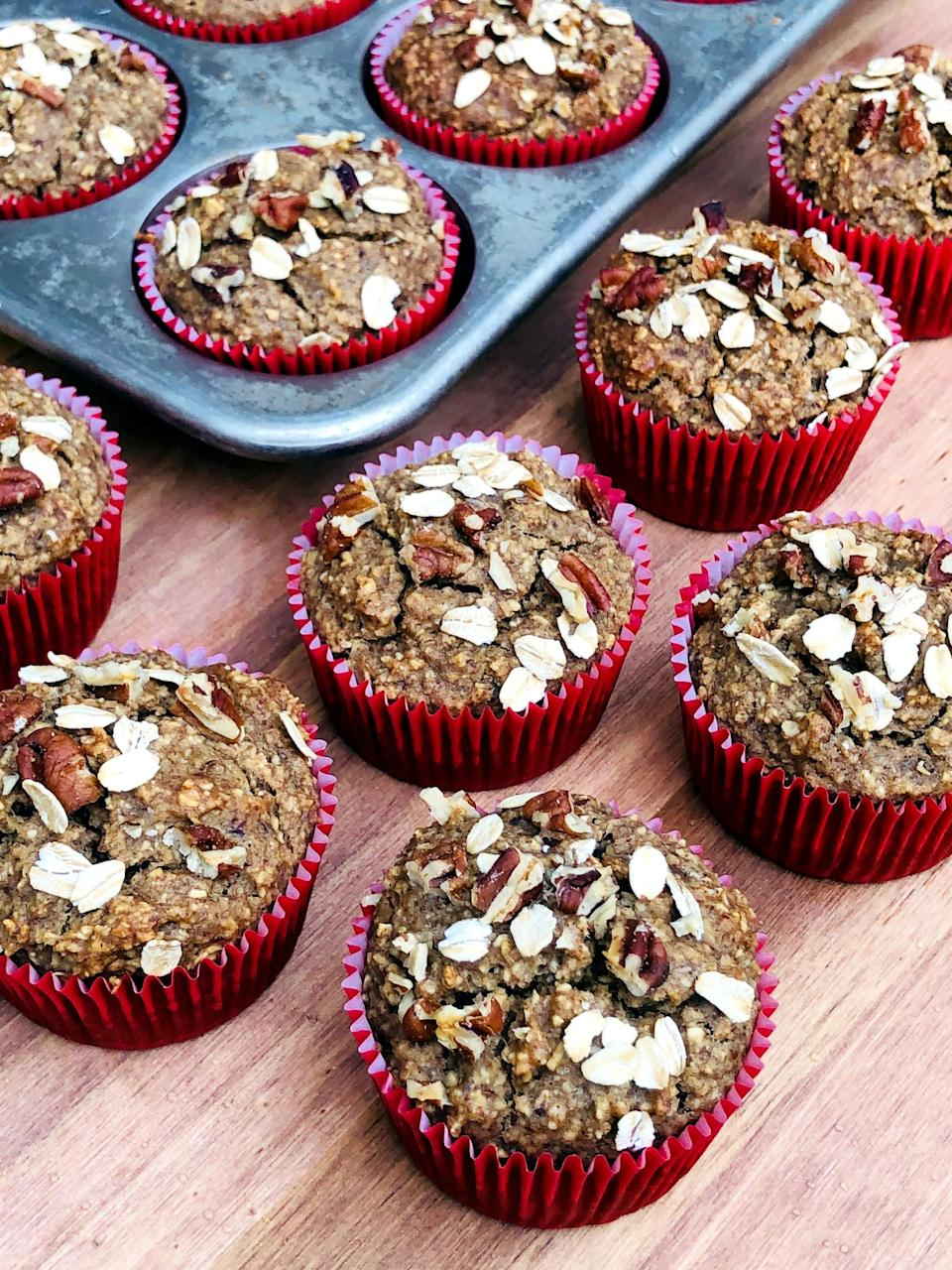 "<p>If you're gluten-free, here's a tried-and-true recipe that tastes amazing - no special gluten-free flour mix required.</p> <p><strong>Calories:</strong> 153 per muffin<br> <strong>Protein:</strong> 6.7 grams</p> <p><strong>Get the recipe:</strong> <a href=""https://www.popsugar.com/fitness/gluten-free-high-protein-banana-nut-muffins-47315547"" class=""link rapid-noclick-resp"" rel=""nofollow noopener"" target=""_blank"" data-ylk=""slk:gluten-free banana nut protein muffins"">gluten-free banana nut protein muffins </a></p>"