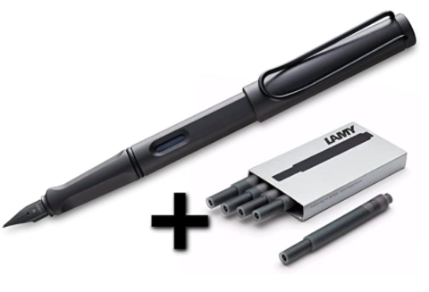 Lamy Safari Fountain Pen + 5 black ink cartridges, S$27.67. PHOTO: Amazon
