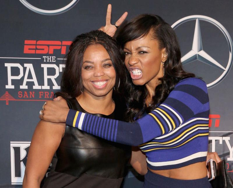 ESPN columnist Jemele Hill (L) and ESPN host Cari Champion attend ESPN The Party on February 5, 2016, in San Francisco, Calif.
