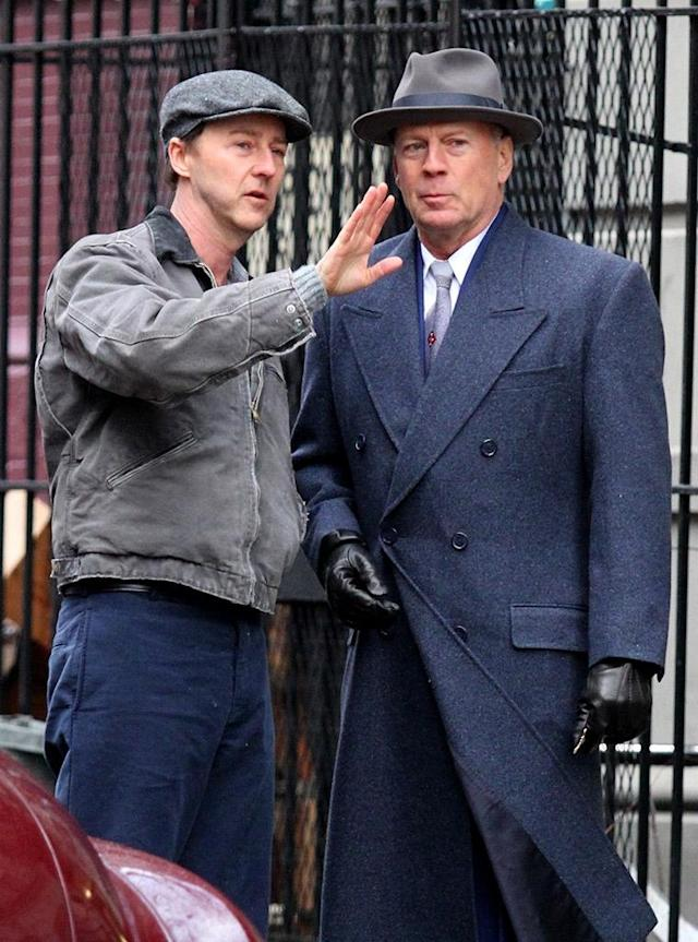 <p>These two dapper actors took to the streets of Manhattan on Monday, where they are filming — Norton is also directing — the upcoming 1950s drama <em>Motherless Brooklyn. </em>(Photo: BrosNYC/Backgrid) </p>