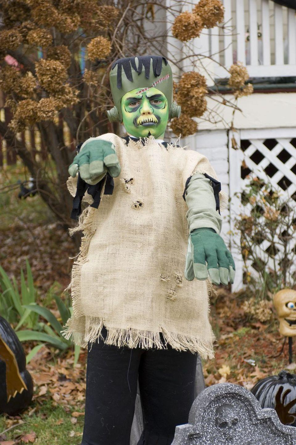 """<p>A milk carton and green spray paint are all you need to recreate this classic monster's boxy head.</p><p><strong><em><a href=""""https://www.womansday.com/home/crafts-projects/how-to/a4240/halloween-costume-frankenstein-98803/"""" rel=""""nofollow noopener"""" target=""""_blank"""" data-ylk=""""slk:Get the Frankenstein's Monster tutorial"""" class=""""link rapid-noclick-resp"""">Get the Frankenstein's Monster tutorial</a>.</em></strong></p>"""