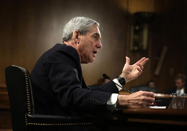<p>Federal Bureau of Investigation (FBI) Director Robert Mueller testifies during a hearing before the Senate Judiciary Committee June 19, 2013 on Capitol Hill in Washington. Mueller confirmed that the FBI uses drones for domestic surveillance during the hearing on FBI oversight. (Photo: Alex Wong/Getty Images) </p>