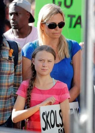 Sixteen year-old Swedish climate activist Greta Thunberg at Global Climate Strike in Manhattan in New York