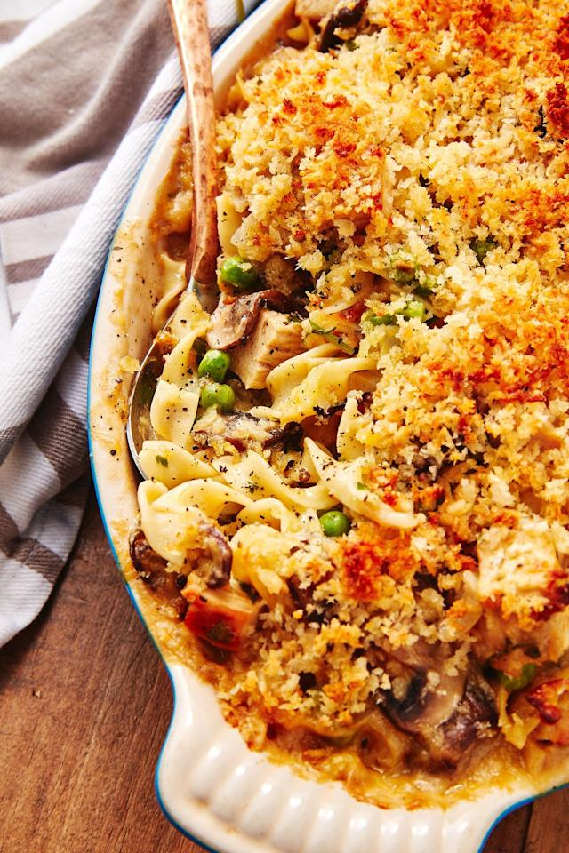 """<p>You probably have half the ingredients in your pantry already!</p><p>Get the recipe from <a href=""""https://www.delish.com/cooking/recipe-ideas/a29104847/turkey-casserole-recipe/"""" target=""""_blank"""">Delish</a>.</p>"""