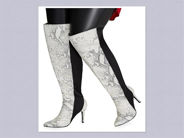 "<p>Tall mixed faux snakeskin boots, $54, <a href=""http://www.ashleystewart.com/tall-mixed-snakeskin-boots---wide-width%2C-wide-calf/402009974373.html#start=2&cgid=shoes_accessories"" rel=""nofollow noopener"" target=""_blank"" data-ylk=""slk:Ashley Stewart"" class=""link rapid-noclick-resp"">Ashley Stewart</a> (Photo: Ashley Stewart) </p>"