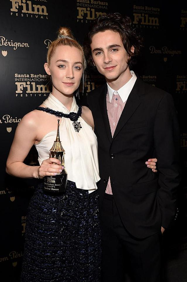 <p>The Oscar nominees visited the Dom Perignon Lounge together to celebrate after <em>Call Me by Your Name</em> star Chalamet presented <em>Lady Bird</em>'s Ronan with the Santa Barbara Award at the Santa Barbara International Film Festival on Sunday. (Photo: Michael Kovac/Getty Images for Dom Perignon) </p>