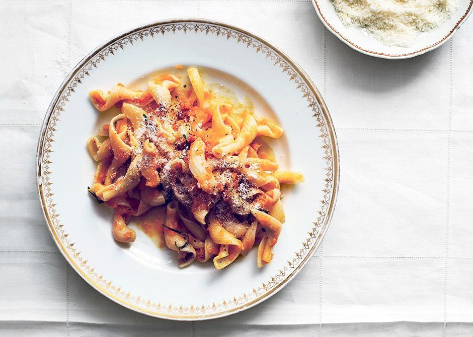 "A thoroughly fall riff on an iconic food group: tomatoes out, shredded butternut squash in! <a href=""https://www.bonappetit.com/recipe/fiorentini-with-butternut-squash?mbid=synd_yahoo_rss"" rel=""nofollow noopener"" target=""_blank"" data-ylk=""slk:See recipe."" class=""link rapid-noclick-resp"">See recipe.</a>"