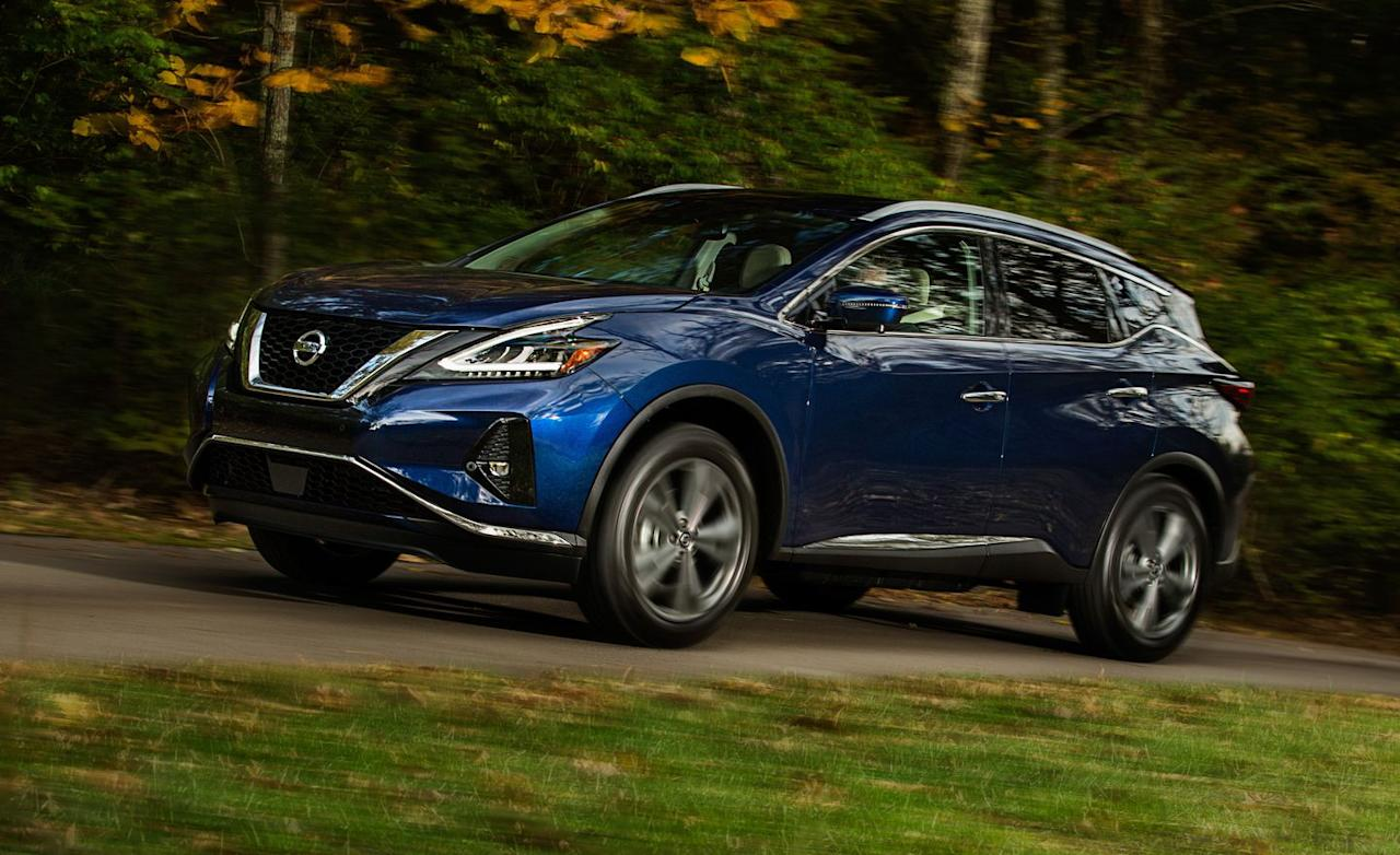 """<p>Its curvaceous styling and solid dynamics <a rel=""""nofollow"""" href=""""https://www.caranddriver.com/reviews/nissan-murano-sl-awd-road-test"""">earned it kudos in our first test of the vehicle</a>-and we even praised its continuously variable transmission (CVT), which at the time was fresh technology.</p>"""