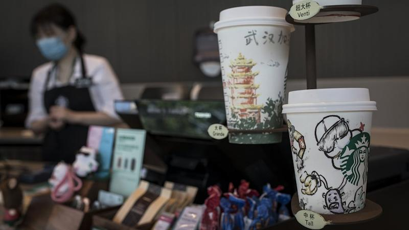 Illustrations drawn by employees on coffee cups at Starbucks on during the Five-day May Day holiday on May 03, 2020 in Wuhan