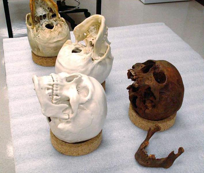 This undated image provided by the NOAA USS Monitor Collection, shows two skulls and the mold casts that were part of skeletons recovered when the USS Monitor was raised from the ocean bottom. Facial reconstructions have been done on the cast skulls in an effort to identify the victims. (AP Photo/NOAA Monitor Collection)