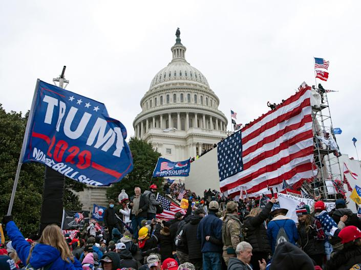 Rioters loyal to then-President Donald Trump outside of U.S. Capitol on  Jan. 6, 2021, in Washington. (AP)