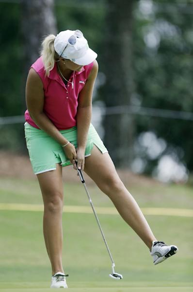 Anna Nordqvist, of Sweden, reacts after missing an eagle putt on the 16th green during third round play in the Mobile Bay LPGA Classic golf tournament at the Robert Trent Jones Golf Trail at Magnolia Grove in Mobile, Ala. Saturday, May 18, 2013. (AP Photo/Dave Martin)