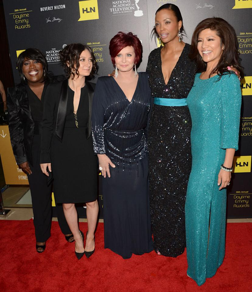 Sheryl Underwood, Sara Gilbert, Sharon Osbourne, Aisha Tyler and Julie Chen arrive at The 39th Annual Daytime Emmy Awards held at The Beverly Hilton Hotel on June 23, 2012 in Beverly Hills, California.