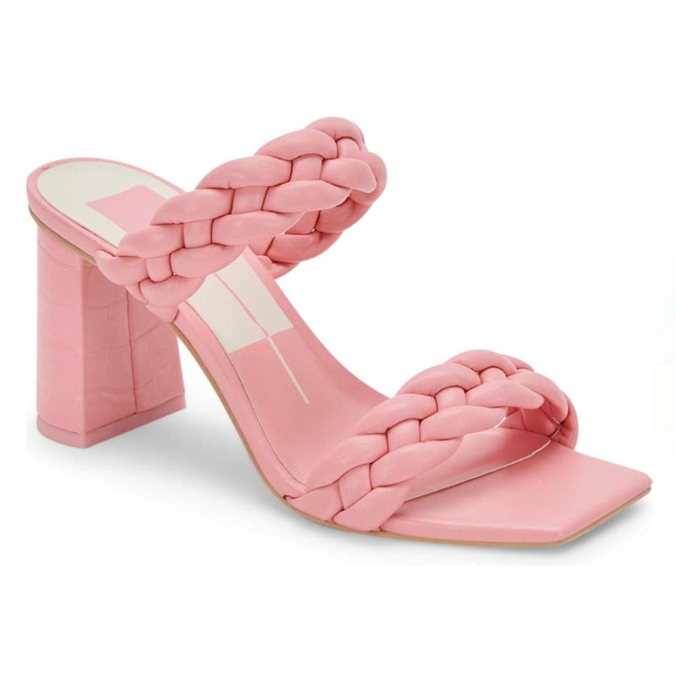"""The relatively low heel on these sandals ensures comfort during the festivities, and the braided straps are a summer-friendly detail. $120, Nordstrom. <a href=""""https://www.nordstrom.com/s/dolce-vita-paily-slide-sandal/5873788"""" rel=""""nofollow noopener"""" target=""""_blank"""" data-ylk=""""slk:Get it now!"""" class=""""link rapid-noclick-resp"""">Get it now!</a>"""