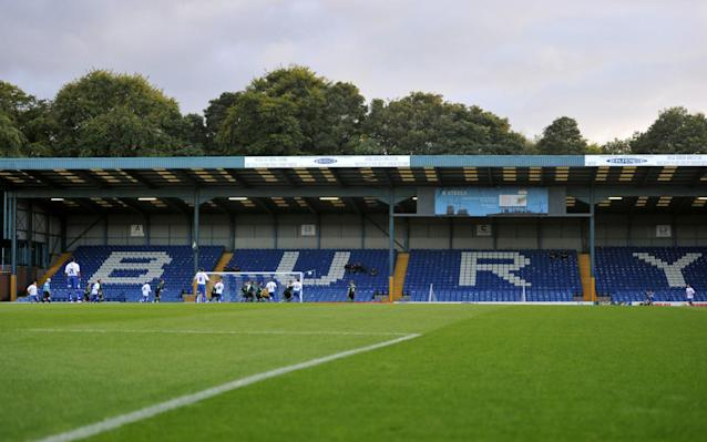 General view of the match between Bury FC's Ground - PA