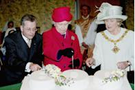 <p>The Queen sliced a white cake shaped like the number 800, in honor of the 800th anniversary of the granting of the Royal Charter to the Borough of Stafford.</p>