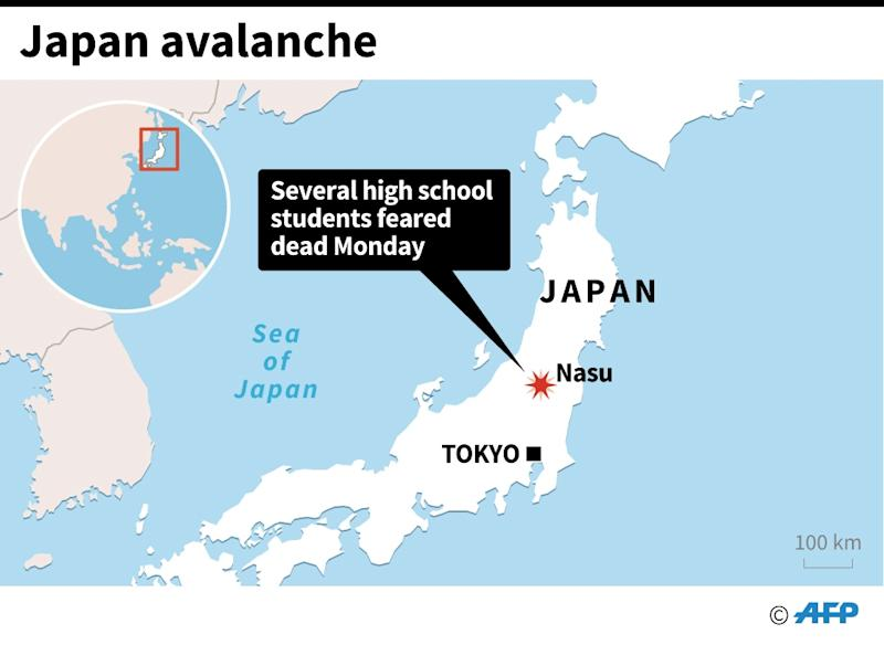 More than 100 troops have been deployed in a massive rescue effort after an avalanche hit Tochigi prefecture in Japan, killing eight students (AFP Photo/AFP )