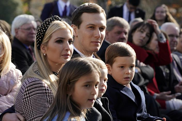 White House senior advisors Ivanka Trump and Jared Kushner sit with their children Arabella, Theodore and Joseph Kushner as President Trump participates in the 71st presentation and pardoning of the Thanksgiving turkeys in the Rose Garden of the White House in Washington, D.C., Nov. 20, 2018. (Photo:Jonathan Ernst/Reuters)