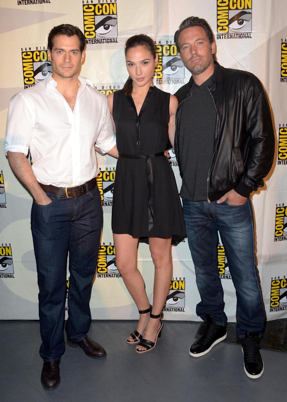 <p>Gadot appeared at SDCC following the announcement that she would play Wonder Woman in Batman v Superman . She posed alongside Henry Cavill and Ben Affleck following the panel presentation on July 26, 2014. (Photo: Albert L. Ortega/Getty Images) </p>