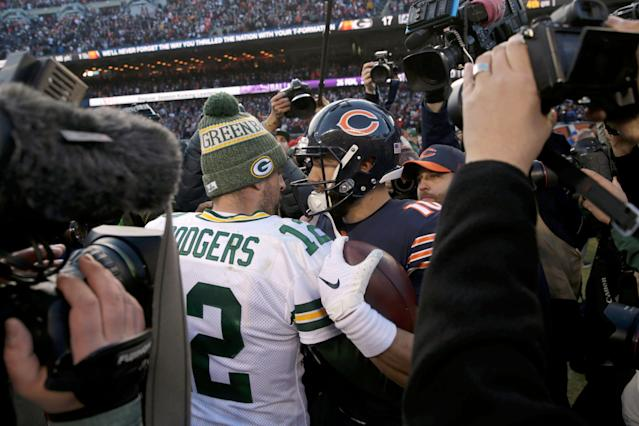 Packers QB Aaron Rodgers (12) and Bears QB Mitchell Trubisky greet each other after the Bears won at Soldier Field, 24-17. (AP Photo)