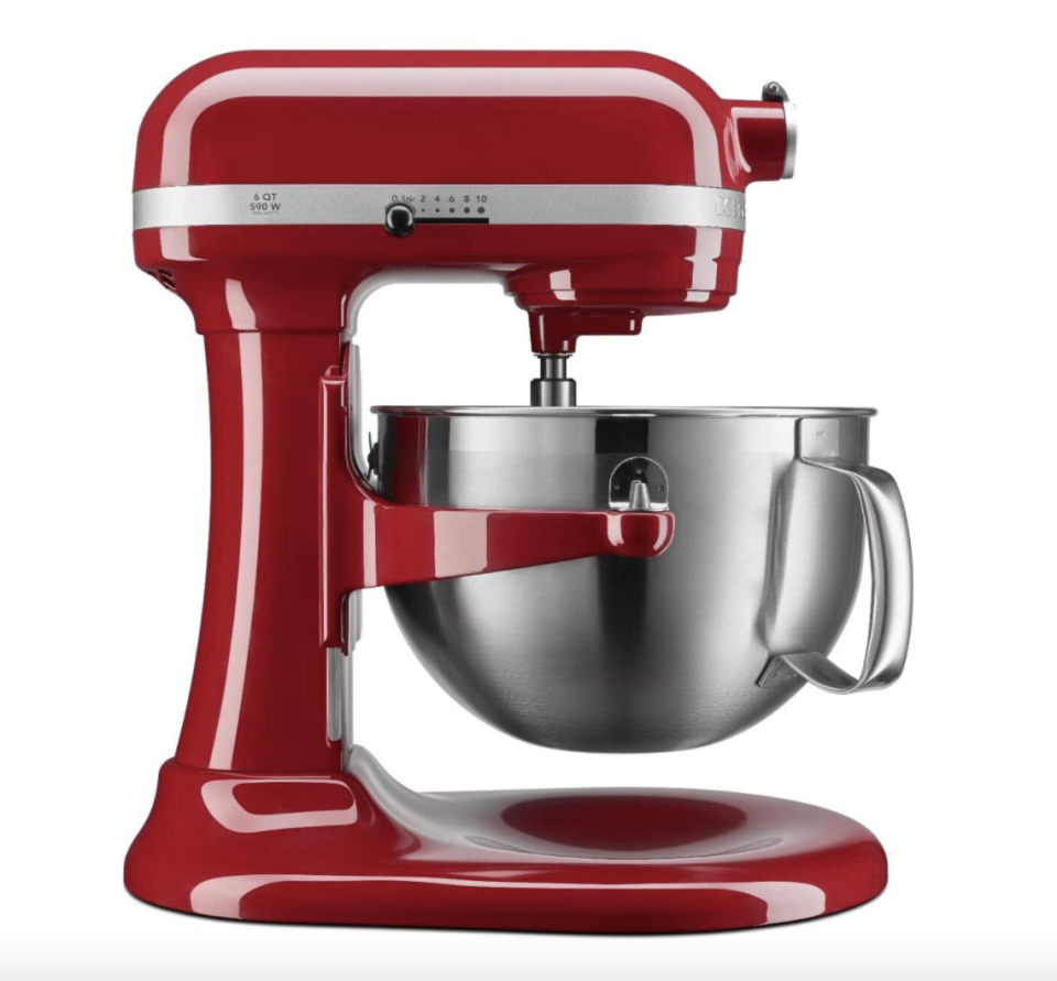 red KitchenAid 6-qt 590 W Bowl Lift Mixer with stainless steel bowl