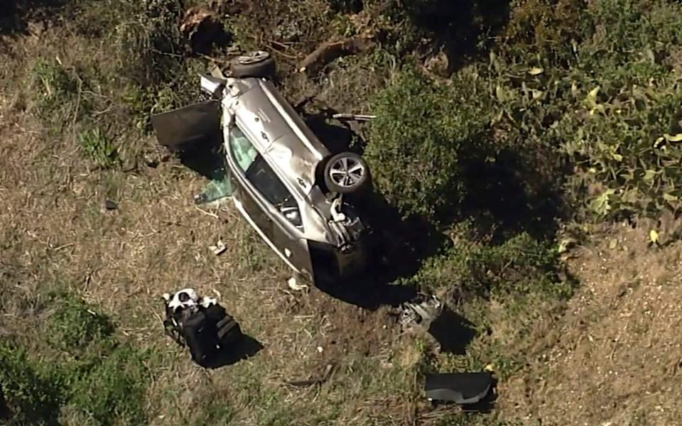 The site of the crash in Rolling Hills Estates in Southern California - AP