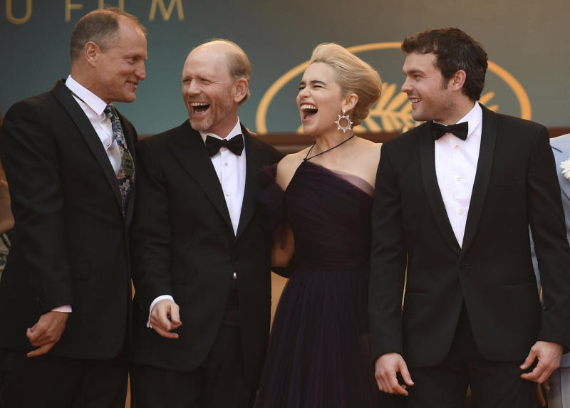 Actor Woody Harrelson, from left, director Ron Howard, actress Emilia Clarke and actor Alden Ehrenreich pose for photographers upon arrival at the premiere of the film 'Solo: A Star Wars Story' at the 71st international film festival, Cannes, southern France, Tuesday, May 15, 2018. (Photo by Arthur Mola/Invision/AP)